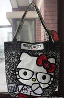 New Arrival Europe Black Leopard Hello Kitty Handbag Women/Girls Shoulder Bags Shopping Bag