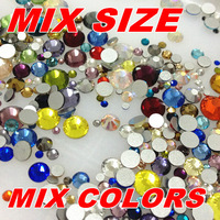 Mix size color 330pcs mi Flatback Glass Crystal Non Hotfix Rhinestone Nail Art