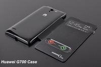 Huawei Ascend G700 case Double view Window Flip Leather Back Cover Case For Huawei Ascend G700 Battery Housing Case