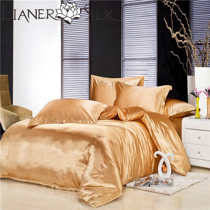 Luxo Light Gold roupa de cama 70% Seda Mulberry Quilt abrange os conjuntos de edredon cobrir definido 4pc rei / rainha / Full Twin tamanho Freeshipping /(China (Mainland))
