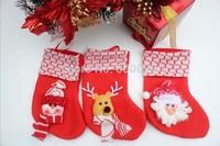 2014 New Hot Christmas Stocking Lovely Cute Snowman Reideer Santa Santa Claus Hanging Sock Stocking Christmas Ornament Gift