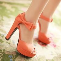 Hot 2014 new summer fashion ankle strap orange thick high heels sandals platform open toe ladies women shoes brand