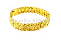 Wholese--12pcs New  Fashion 24k Gold Plated Mens Adjustable Length Jewelry Bracelet Gold Golden Bracelet Bangle.Free shipping!!