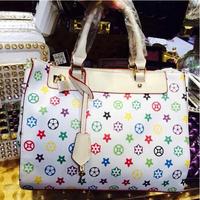 Top Brand 2014 European Fashion Hot Women Lady Flowers Print Real Leather Elegant White Handbag Freeshipping Quality Tote Bag