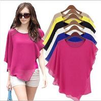 Fashion women's top loose short-sleeve chiffon shirt t-shirt plus size available