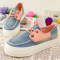 Color block decoration platform women's platform shoes fashionable casual single shoes preppy style canvas shoes female