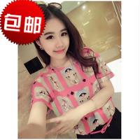 2014 summer new arrival all-match fashion loose plus size print short-sleeve chiffon shirt female