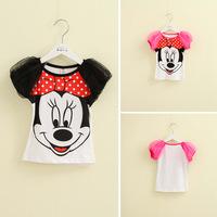 2014 summer new children over to Mickey t-shirt printing Korean version of the children's round neck T-shirt Puff Girls