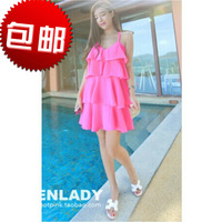 2014 summer new layers of flounced pink dress is super- cross halter dress was white