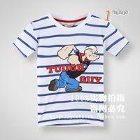 2014 new summer models original single brand children 's clothes boys striped sailor boy short sleeve T-shirt spinach