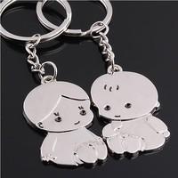 Simulation Kawaii Nice Metal Couple Key Finder Fashion Happiness Innovative Items Trinket Lovers Keychains Ring Jewelry Chaveiro