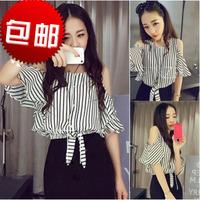 2014 summer new wild lotus sleeve classic black and white bars waist lace strapless chiffon shirt women
