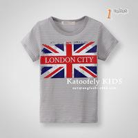 2014 Summer boys and girls children 's children's children striped cotton short-sleeved T-shirt flag Wholesale