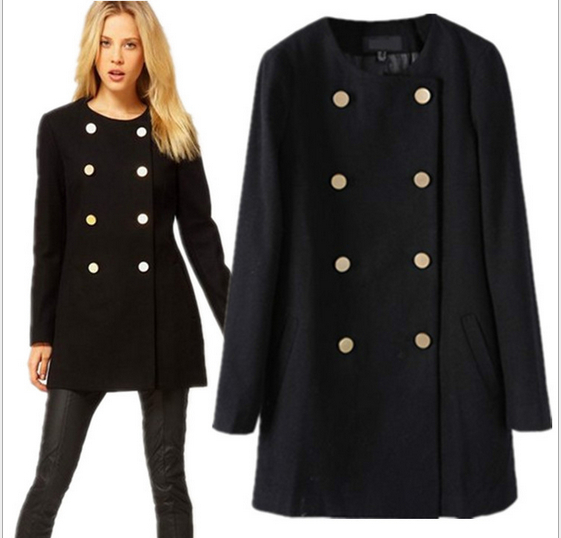 Autumn winter fashion o-neck women coat long-sleeved double-breasted coats long woolen coat women overcoat warm trench WE451(China (Mainland))