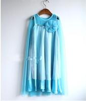 Baby girl frozen dress Frozen Elsa Dress new 2014 girls princess lace blue party summer dresses baby & kids clothes