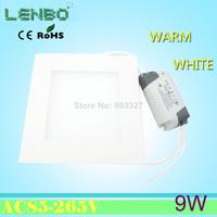 Freeship 9w led panel lighting AC85-265V ,SMD2835, Alumium,Warm /Cool white recessed light,indoor lighting led ceiling light LP2
