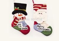 80pcs/lot Wholesale 2014 New Hot Christmas Stocking Cute Snowman Santa Claus Hanging Sock Stocking Christmas Ornament Gift