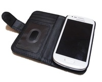 Free shipping Photo Frame 3 Card Slot Plain Wallet Leather Case for Samsung Galaxy S3 Mini i8190 100pcs/Lot