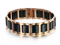 2014 Mens Bracelet Stainless Steel Ceramic Bracelet Rose Gold Color Free Shipping