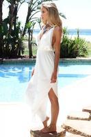 Free shIpping love girl Fashion Demure Pantsuit - White chiffon  summer beach jumpsuit