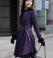 2014 autumn and winter women slim sheep trophonema wool coat fur collar medium-long women's fur coat