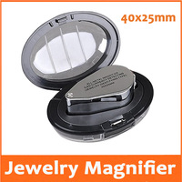 40X25mm Illuminated Pocket Lighted Magnifier with LED Lights for Jewelry Inspecting Gem Magnifying Glass Lamp Gift Loupe