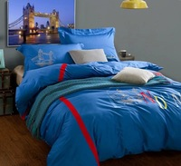 Embroidered 4pc bedding sets luxury blue bed cover set hot sale bedclothes bed set home textiles comforter set queen