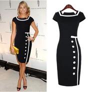 2014 New Women Business Work Sheath Bodycon Vintage Pencil Dress Career Elegant Office Dress Black White Drop Shipping