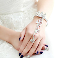 Free Shipping! Fashion Shinning Rhinestone Bracelet And Ring Tassel Chain Bridal Accessories Wedding Jewelry