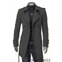 Free shipping 2014 winter new fashion men jacket slim double breasted woolen medium-long casaco masculino outerwear trench coat