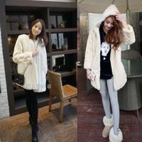 2014 autumn and winter medium-long women's vertical stripe fur coat overcoat women's cotton-padded jacket