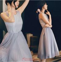 free shipping 2014 fashion summer women pleated chiffon long dress women'S sleeveless vest princess dresses elegant party dress