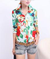New Women Wild Floral Print Chiffon Blouse Button Collar Half Sleeve Top Shirt EB-2