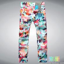 The new 2014 GSOU SNOW ski pants ms color camouflage snowboarding pants(China (Mainland))