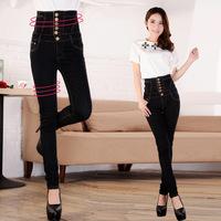 2014 black single-breasted thin high waist jeans denim elastic skinny pencil pants Full Size S~4XL  5633