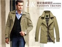 Down & Parkas 2014 Trench Coat Men Slim Fit Pure Cotton Medium Style British Style Casual Coat  Size M-XXL