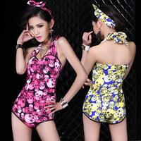 Chinese folk dance costumes female costume pub bar DJ singer show clothing chicken tracks printing skull Slim EUROPE  JUMPSUITS