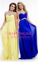 In Stock Royal Blue Yellow 2014 Cap Sleeve Crystal Chiffon Prom Party Dress Floor-Length Long Evening Dresses Free Shipping