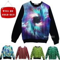 Hot sale !! Thicken Fashion men/women 3D Sweaters Long sleeve Galaxy hoodies Pullovers Plant/fruit/animal 3D sweatshirt S/M/L/XL
