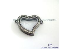 JK010-1   5pcs 30mm Chrome color Sparkle Heart Pendant Living Floating Memory Glass Locket For Locket Bracelet