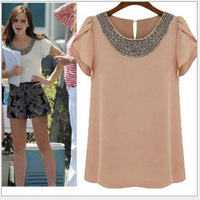 2014 European And American Women's Summer Short-sleeved T-shirt , Beaded Collar Lotus Sleeve Chiffon T-shirt