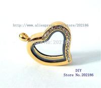 JK020-2   5pcs 30mm Golden color Half Crystal Heart Pendant Living Floating Memory Glass Locket