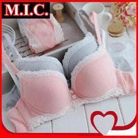 New 2014 fashion women bra set sexy lace brand female pink cozy cotton sweet underwear thin cup bra & brief sets