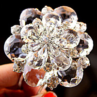 Free Shipping! Luxury High Quality Bridal Bracelet Beautiful Super Large Three-dimensional Crystal Flower Bangles