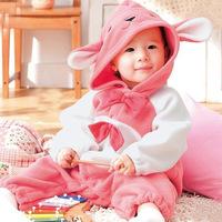 FBT New 2014 Baby Rompers Warm Thickening Fleece Winter Jumpsuit Pink Rabbit Cute Style roupas de recem nascido menina macacao