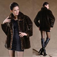 2013 fox fur rabbit fur coat medium-long women's imitation mink marten overcoat