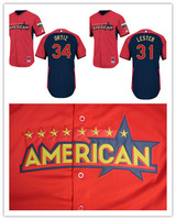 Cheap Men's 2014 All Star Baseball Jersey Boston Red Sox #34 David Ortiz #31 Jon Lester Baseball Shirt Sportswear,Embroidery