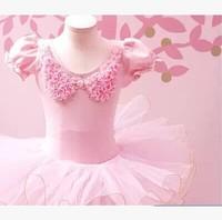New Girls Ballet Leotard With Skirt Kids Tutu Short Sleeve Pink White Dance Dress suit for 3-6 years