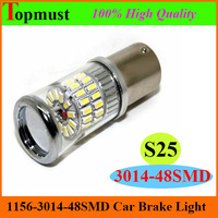 [Free Shipping 2pcs/lot ] 1156 BA15S S25 3014smd 48pcs 10V-30V  White/Red/Yellow  Led Car Turn Lights Signal