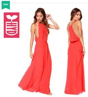 Export brand 2014 spaghetti strap Hollow out floor length dress womens waist lace-up long dress Drop ship